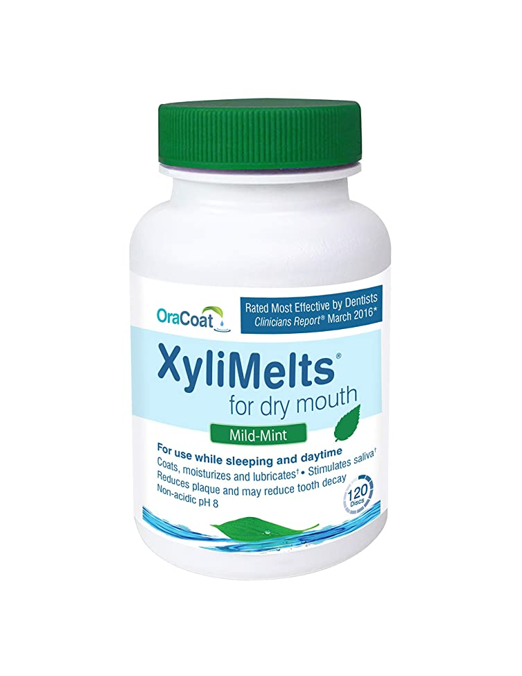 OraCoat, XyliMelts for Dry Mouth Care 120 count bottles, All Natural, Gluten Free, No Preservatives, Helps Neutralize Acids. 2 bottles (240 discs total). (Mild Mint)