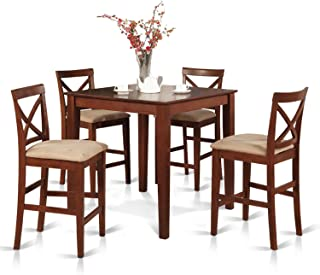 East West Furniture 5-Piece Counter Height Dining Table Set, Brown