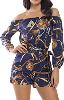 Rompers for Women Boat Neck Off The Shoulder Strapless Mid Rise Casual Jumpsuit w Belt