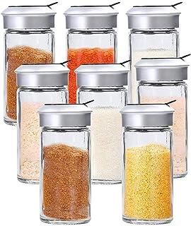 YOBAIH 10pcs / 8pcs / 1pc Gadgets de Cuisine en Verre Transparent Spice Shaker Shaker Shaker Spice POVIER Couverture Power...