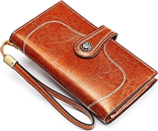 SHUAINIU Women's RFID Blocking Wallet Soft Leather Clutch Money Ladies Purse Slim Card Holder Organizer Zip Pocket (3527-B...