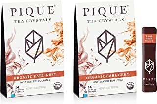 Pique Tea Organic Earl Grey Black Tea Crystals - Gut Health, Energy, Fasting - 28 Single Serve Sticks (Pack of 2)