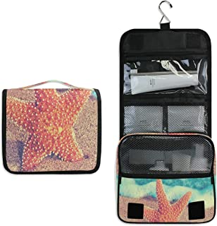 Travel Hanging Toiletry Bag Starfish On Sand Of Beach Cosmetic, Makeup and Toiletries Organizer | Compact Bathroom Storage | Home, Gym, Airplane, Hotel, Car Use