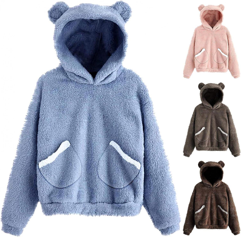 Womens Sherpa Pullover, Women's Cute Hoodie with Bear Ears Winte