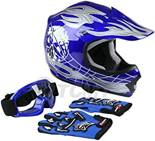 TCMT Dot Youth & Kids Motocross Offroad Street Helmet Blue Skull Motorcycle Helmet Silver Dirt Bike Helmet+Goggles+gloves S