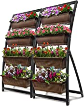 6-Ft Raised Garden Bed - Vertical Garden Freestanding Elevated Planter with 4 Container Boxes - Good for Patio or Balcony Indoor and Outdoor - Cascading Water Drainage (2-Pack/Espresso Brown)