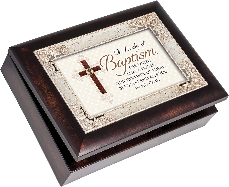Cottage Garden Day of Baptism Sent Prayer Cross Burlwood Inlay Italian Style Music Box Plays How Great Thou Art