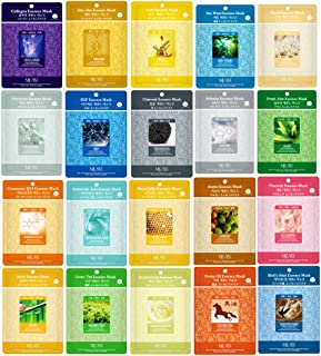 Pack of 20, The Elixir Beauty Nature Essence Collagen Full Face Facial Mask Sheet, 23ml x 20 Sheets