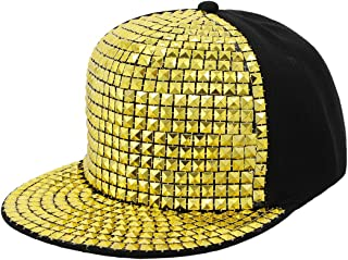 Unisex Kid Shiny Sequin Reflective Baseball Snapback Cap Hip-Hop Hat