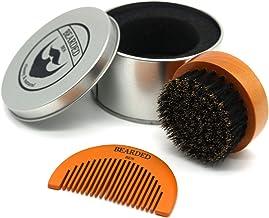 Bearded Ben - Spazzola da barba con setole di cinghiale, Astuccio elegante compreso, Diametro: 6.3 cm