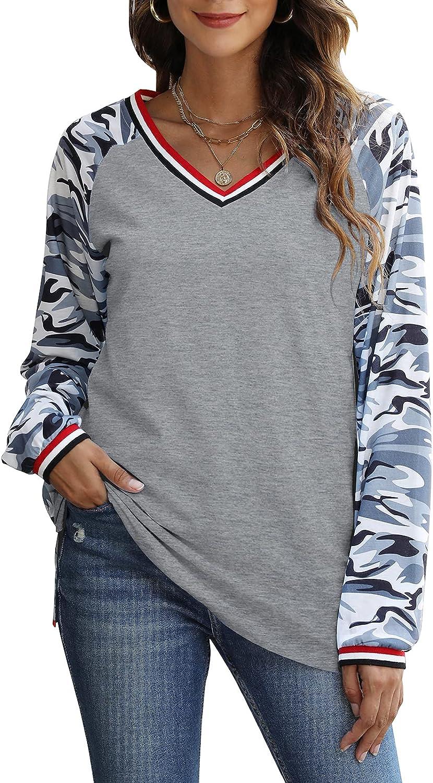 MYHALF Womens V-Neck Casual T-Shirt Camouflage Raglan Long Sleeve Splicing Tunic