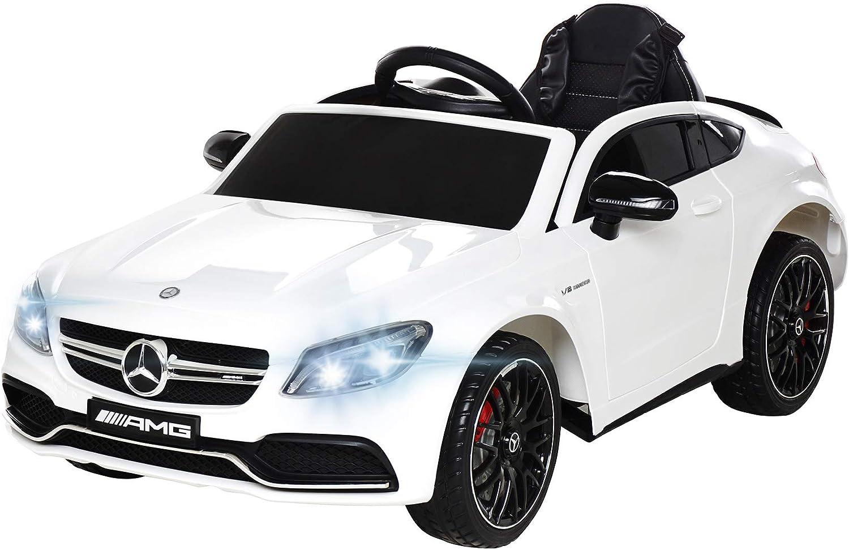 Actionbikes Motors Spielzeug Elektroauto Mercedes Benz C63 - Lizenziert - Ledersitz - Rc Fernbedienung - Elektro Auto für Kinder ab 3 Jahre - Kinderauto (Wei)