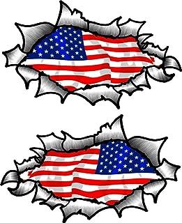 Pequeño Pareja de Oval Efecto Rasgado Abierta Desgarrado Efecto Metal Diseño con Americano y Estrellas NOS de la Bandera Vinilo Casco de Moto Pegatinas 85x50mm Each