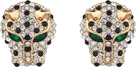 Lux Accessories Xmas Christmas Holiday Gold Tone Tiger Head Black Rhinestone Dark Green Eyes Earrings