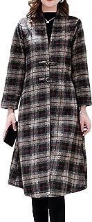 勤勉な手錠におい[ShuMing]ロングコート レディース 厚手 コート チェック柄 チャイナボタン おしゃれ チェスターコートロング丈 暖かい アウター 保温 ゆったり 秋 冬 ファッション