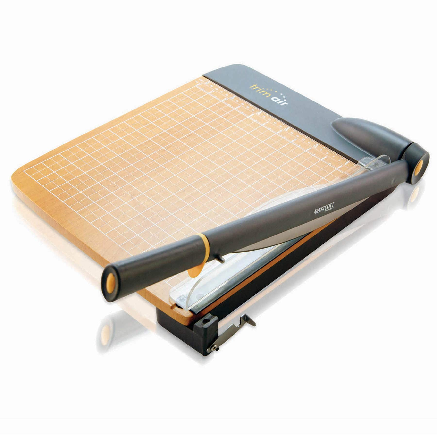 Westcott 15-Inch Trimair Titanium Wood Guillotine Paper Trimmer with Anti-Microbial Protection