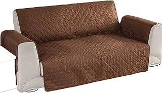 Mascota - Protège-canapé réversible pour animaux domestiques et salissures - Marron et blanc - 2 à 3 places (165 cm)