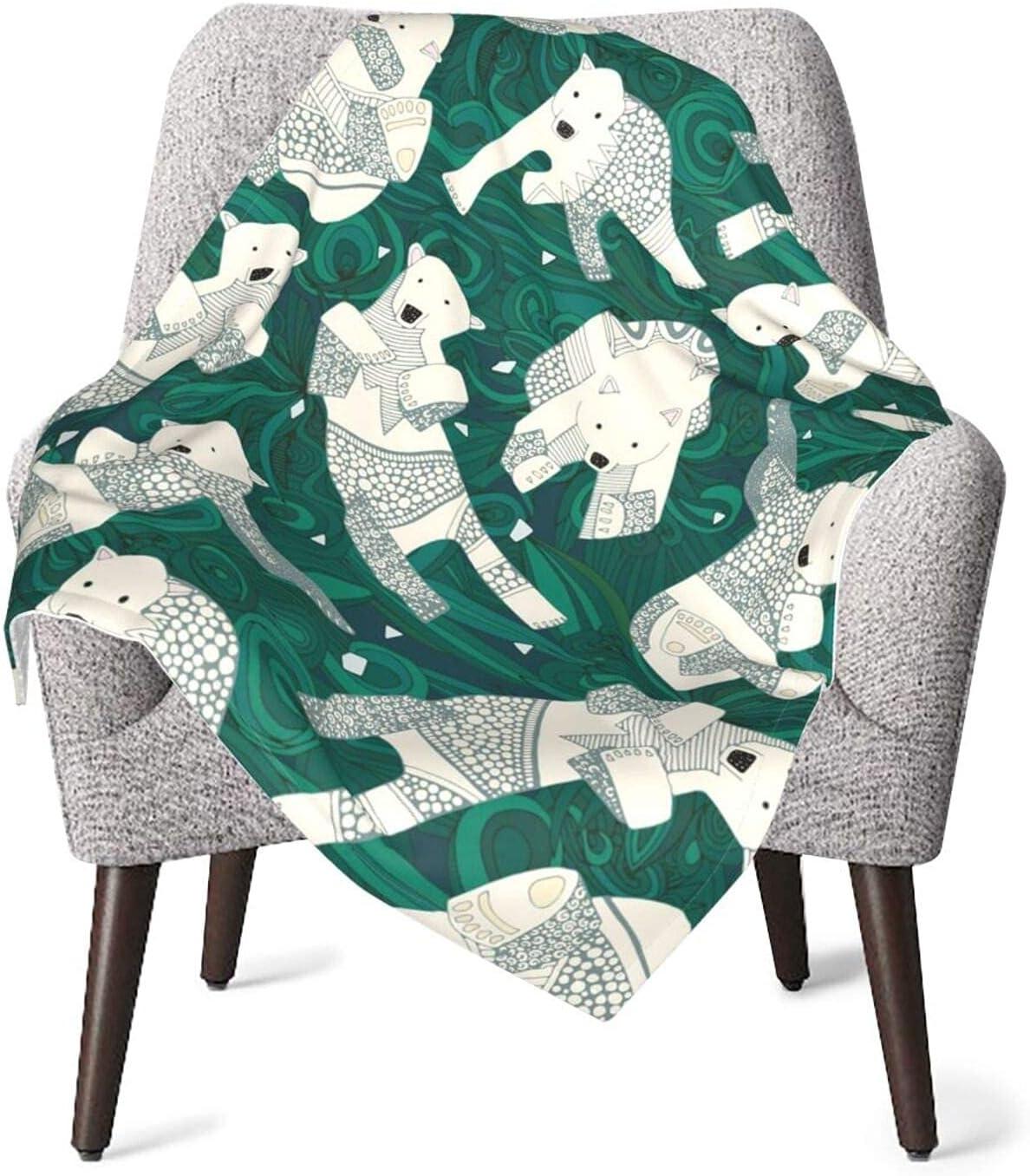 Manta de Tiro Osos Polares Póster Verde Manta de bebé Manta de Felpa Suave Manta de recepción Manta de recepción 76 X 102 CM