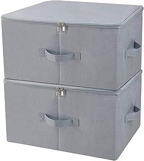 Boîte de rangement pliante anti-poussière pour armoire avec couvercle à fermeture éclair, tissu respirant pour vêtements s...