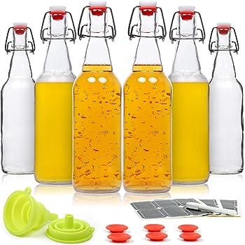 WILLDAN Set of 6-16oz Swing Top Glass Bottles - Flip Top Brewing Bottles For Kombucha, Kefir, Beer - Airtight Caps and Leak Proof Lids, Bonus Gaskets and Funnel