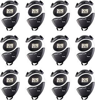 12 Pack Black Multi-Function Electronic Digital Sport Stopwatch Timer, Large Display with Date Time and Alarm Function,Suitable for Sports Coaches Fitness Coaches and Referees