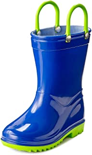 Puddle Play Toddler and Kids Waterproof Rain Boots with Easy-On Handles - Boys and Girls Solid Colors