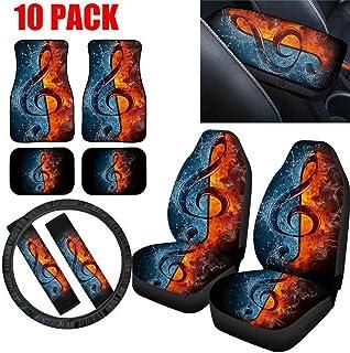 Conjunto completo de 10 peças de acessórios para interior de automóvel com impressão de música de chamas com tapete de chã...