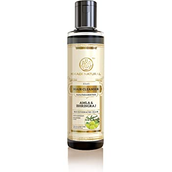 KHADI NATURAL Ayurvedic Amla and Bhringraj Hair Cleanser(Shampoo), SLS and Paraben Free, 210ml