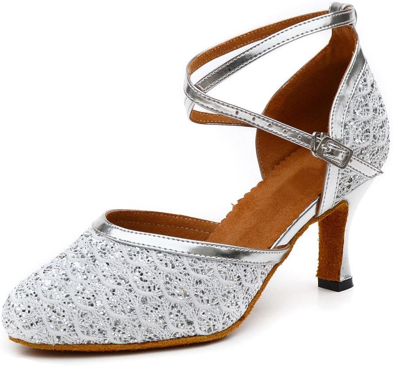Misu Women's Closed Toe Suede Sole Latin Salsa Tango Practice Ballroom Dance shoes with 2.7  Heel Silver