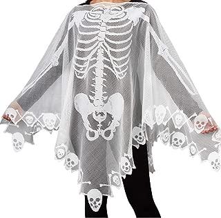 Halloween Costumes Lace Skeleton Bat Spiderweb Skull Poncho for Women Men