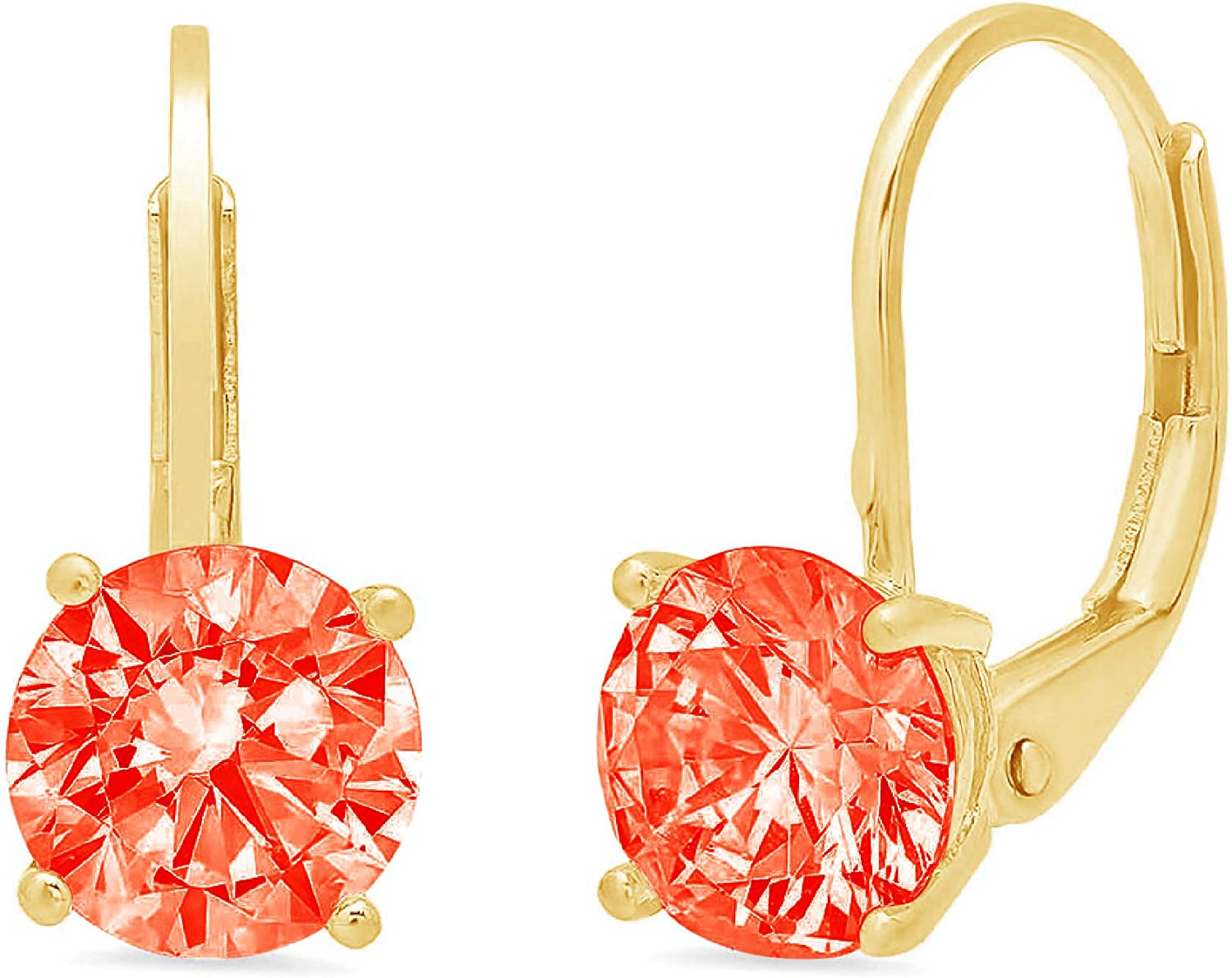 0.94cttw Round Cut ideal VVS1 Conflict Free Gemstone Solitaire Genuine Red CZ Unisex Designer Lever back Drop Dangle Earrings Solid 14k Yellow Gold