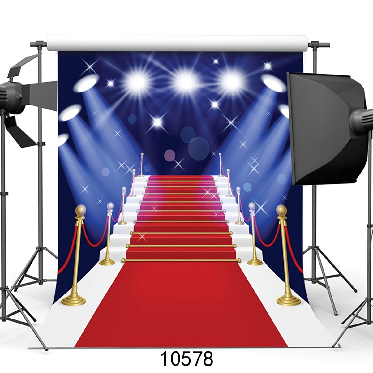 SJOLOON 10X10FT Red Carpet Stage Backdrops for Photography Digital Backgrounds for Wedding Photography Lighting Customized 10578