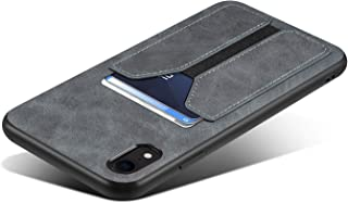 SUTENI iPhone Xr Wallet Case, iPhone Xr Credit Card Slot Holder Case, Slim Leather Wallet Case for iPhone XR (Gray)