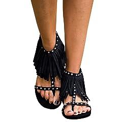 06217f564 Syktkmx Womens Fringe Tassel Flat Thong Rivet Strappy Ankle W ..