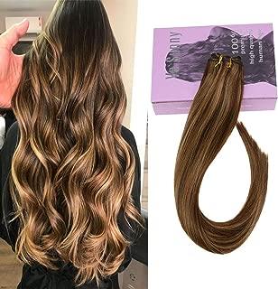 VeSunny Brazilian Hair Bundles Human Hair Weft #4/27 Dark Brown Highlight Caramel Blonde Sew in Extensions Hair Weft for Full Head 100G/Bundle 20inch