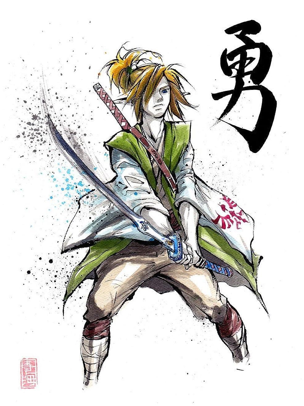 8x10 PRINT of Samurai Link Japanese Calligraphy COURAGE