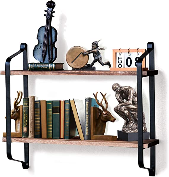 ASHLEYRIVER Rustic 2 Tier Floating Shelves Wood Wall Shelves For Living Room Bedroom Kitchen Pantry Entryway