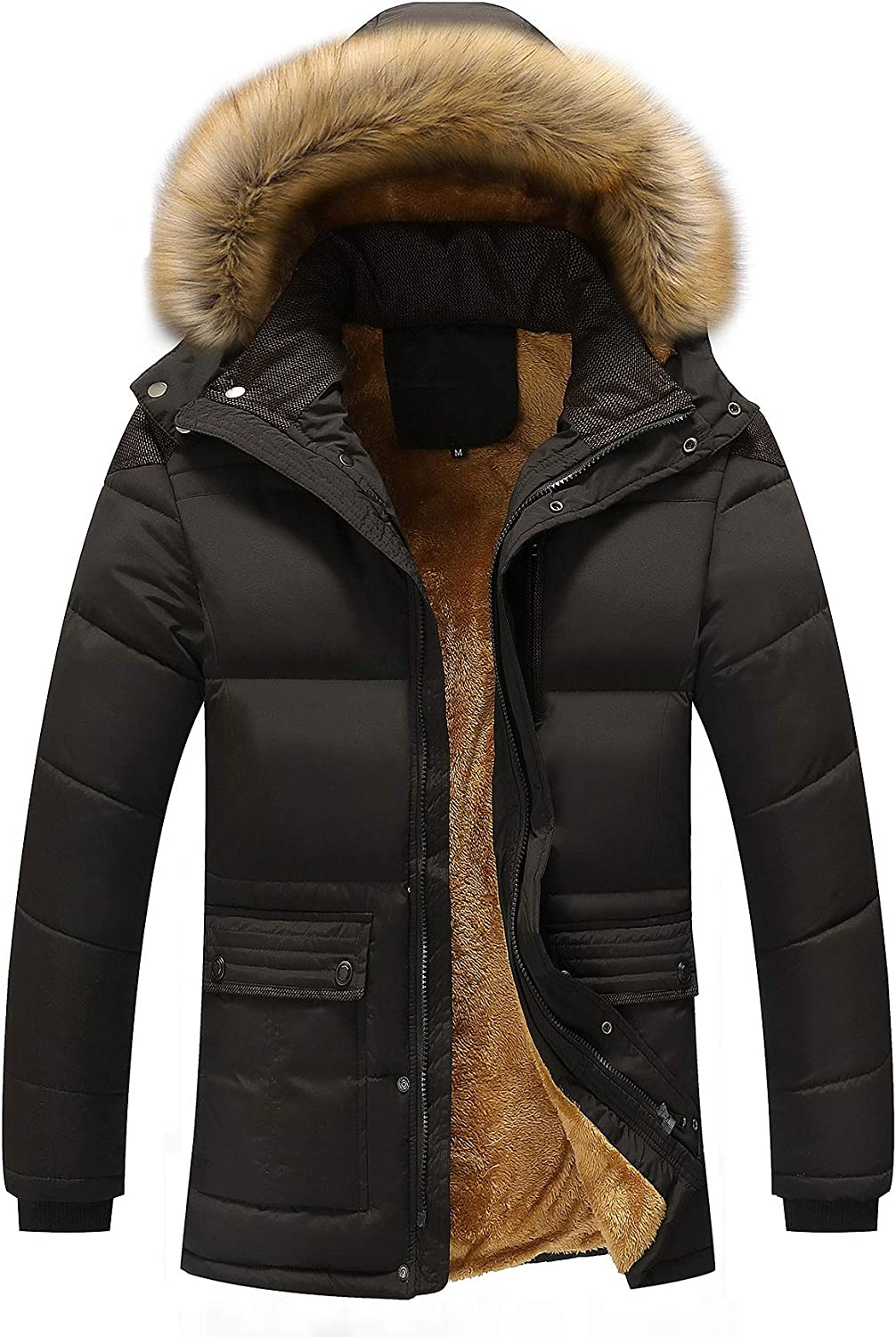 Gihuo Men's Padded Puffer Jacket Fleece Lined Hooded Parka with Faux Fur Trim