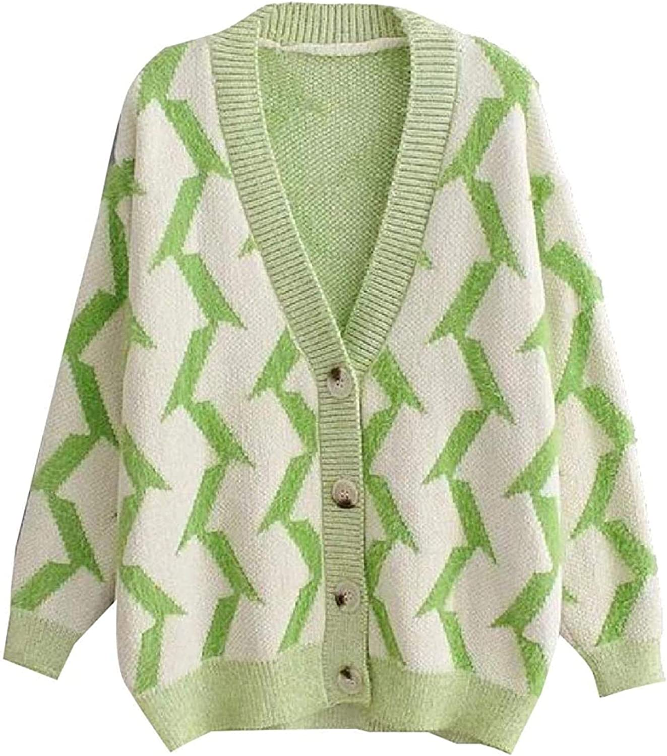Women Casual Warm Courier shipping free V Neck Button Knitted Long Sleeve Philadelphia Mall Swea Pattern