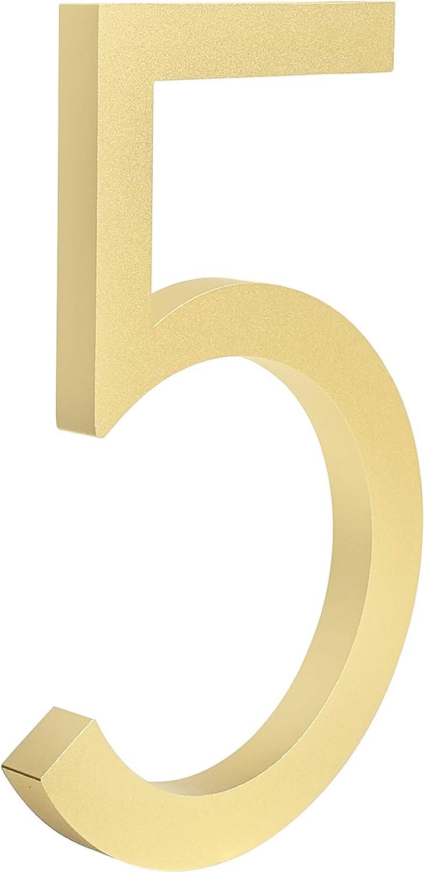 0, Golden HASWARE Floating House Number 6 inch Stylish Door Numbers Alphabet Plaque Street Home Address Numerals