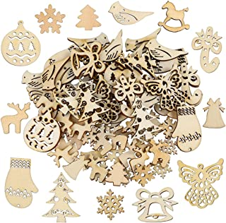 Pllieay 100 Pieces Mix Different Shapes Small Handmade Wooden Slices Christmas Series Embellishments Ornaments for Christmas Decorations, DIY Party Craft and Card Making