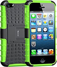 iPhone 5 Case,Armor Heavy Duty Rugged Dual Layer Hybrid Shockproof Case Protective Cover for Apple iPhone 5 5S SE with Built-in Kickstand (Green)