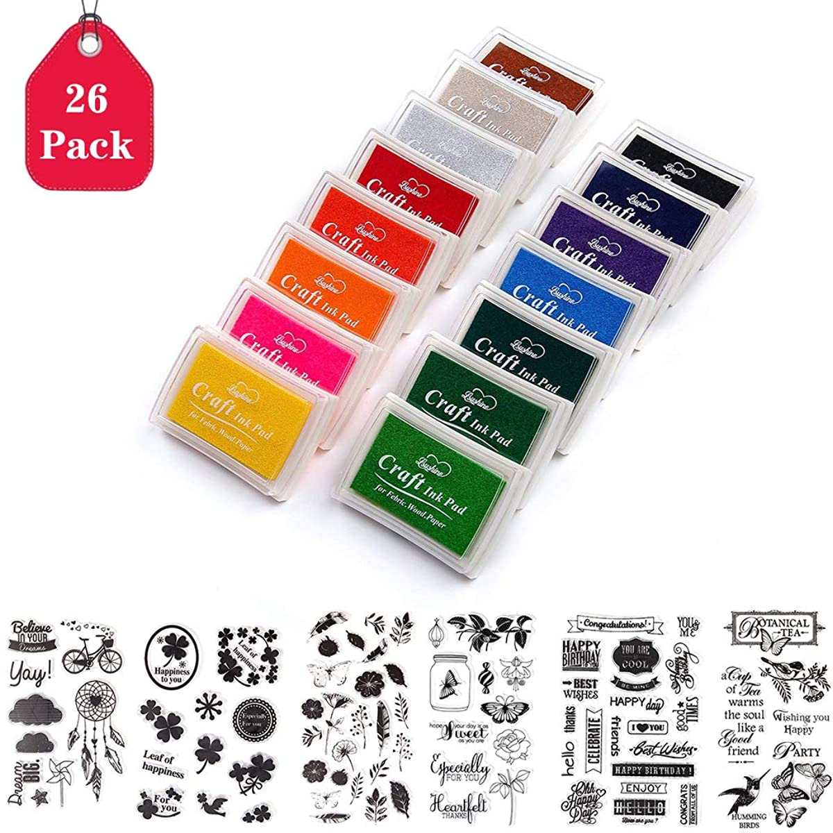 26 Pack Ink Pads, Amycute Finger Ink Pads for Kids & 6 Sheets Silicone Clear Stamps, Craft Scrapbooking Stamp Pads for Rubber Stamps, Paper, Fabric