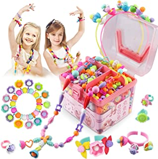 Girls Toys Pop Beads for Age 3-8 Girls 600 Pcs Jewelry Making Gifts Necklace and Bracelet and Ring Creativity DIY Set