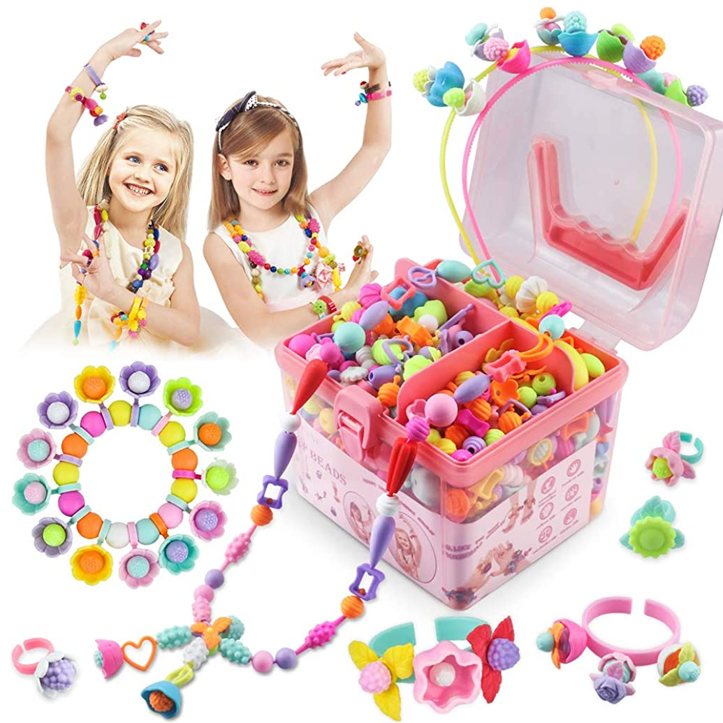 Pop Beads 550 Pcs, Arts and Crafts Toys Gifts for Girls Age 4,5,6,7,8, Jewelry Making Kit for 4,5,6,7,8 Year Old Girls,Necklace and Bracelet and Ring Creativity DIY Set