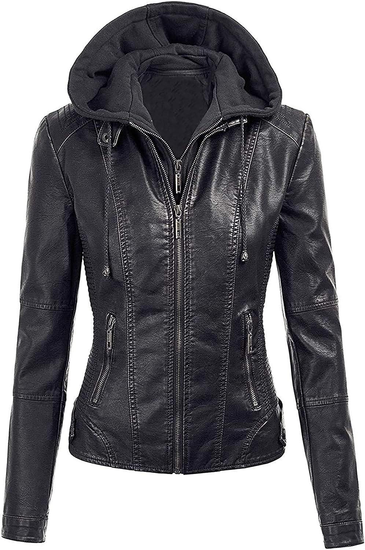 Women's Popularity Brando Motorcycle Black Jacket Leather Detachable Hood Sales