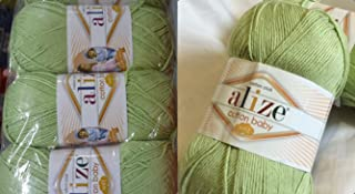 50% Cotton 50% Acrylic Soft Yarn for Baby Blanket Alize Cotton Baby Soft Crochet Lace Embroidery Art Craft Sewing Kit Hand Knitting Yarn Lot of 4skn 400gr 1180yds Color Pistachio 101