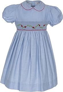 Girls Dress Hand Smocked Lady Bugs Chambray Short Sleeve Dress