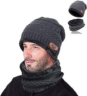 2-Pieces Winter Beanie Hat Scarf Set Warm Knit Hat Thick Fleece Lined Skull Cap for Men Women