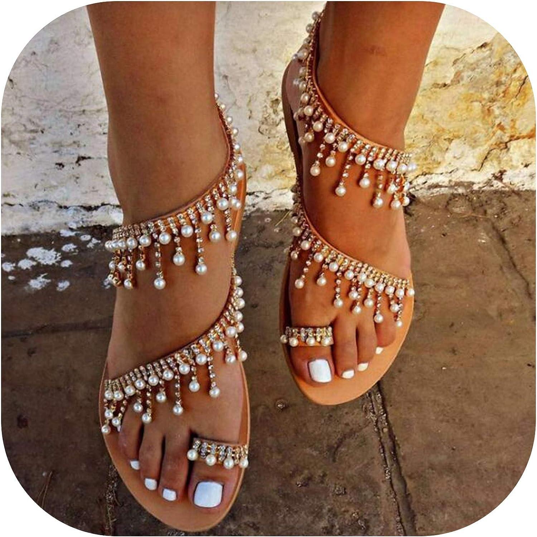 Women Sandals Summer Flat Pearl Sandals flip Flops Rome shoes String Bead Slippers